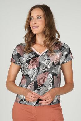 T-shirt in tricot met geometrische print, huidskleur