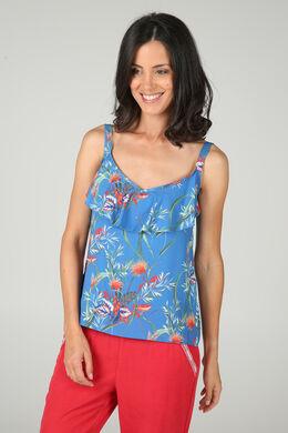 Top in crêpevoile met bloemenprint, Koningsblauw