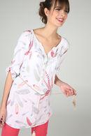 Lange tuniek met pluimenprint, Wit