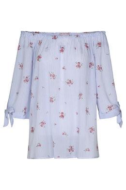 Bloes met elastische hals, met strepen en bloemen, Blauw