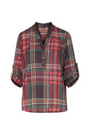 Geruite blouse, Rood