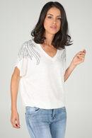 T-shirt met borduurwerk en lovertjes op de schouders, Ecru