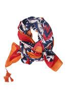 Foulard met zigzagprint en pompons, Oranje