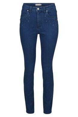 Smalle jeans met strassteentjes en kraaltjes, Denim