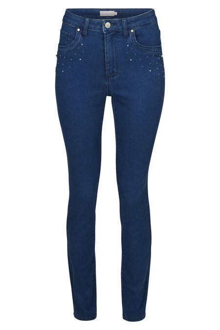 Jeans slim avec détails strass et perles - Denim
