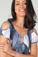 T-shirt in tricot met bladprint, Marineblauw