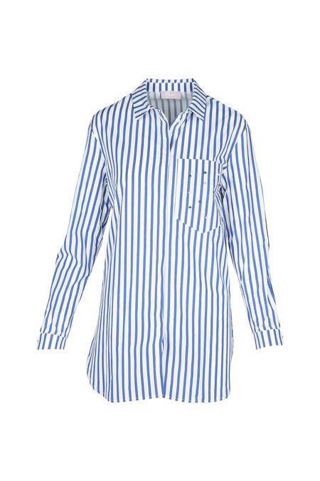 Chemise large à rayures - Bleu