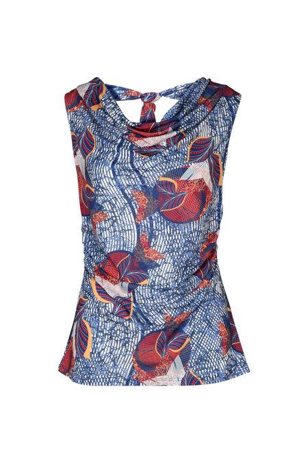 T-shirt met bladprint en watervalkraag - Koningsblauw