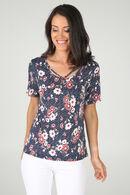 T-shirt met bloemenprint en gekruist decolleté, Rood