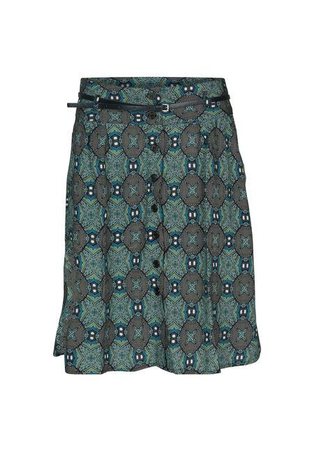 Etnische rok met knopen vooraan - Turquoise