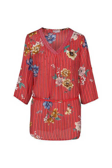 Tuniekhemd met strepen en bloemen - Rood