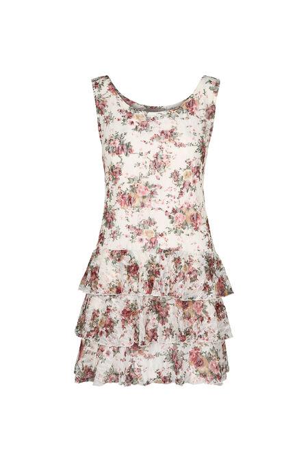 Gebloemde jurk met volants - Ecru