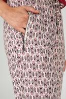 Soepel vallende broek met etnische print, Roze