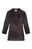 T-shirt in tricot met stippen en geometrische lijnen, Pruim