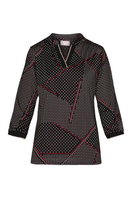 T-shirt in tricot met stippen en geometrische lijnen - Pruim