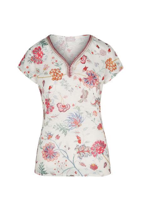T-shirt met bloemenprint en V-hals met lovertjes - Multicolor