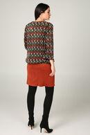 Geometrisch bedrukte blouse, Roodbruin