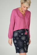 Rok in tricot met cirkelprint, Marineblauw
