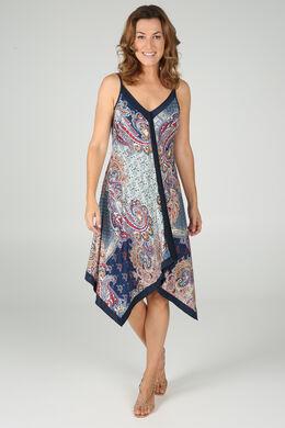 Lange jurk met vierkante foulardprint, Camel
