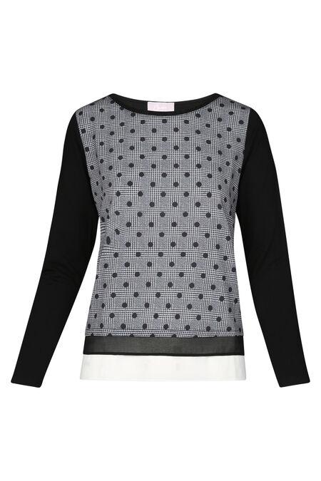 T-shirt met ruitjes en stippen - Zwart