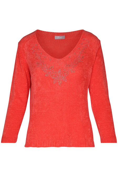 Pull encolure avec strass - Corail