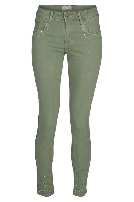 Pantalon slim avec strass - Kaki
