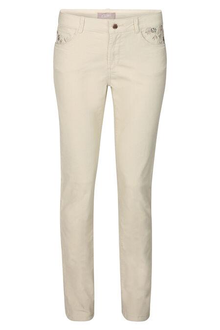 Pantalon slim velours - Ecru