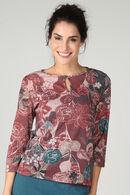 T-shirt maille chaude imprimé fleuri, Prune