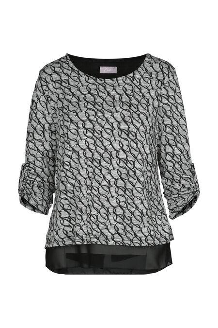 T-shirt in bedrukt, warm tricot - Zwart/Ecru
