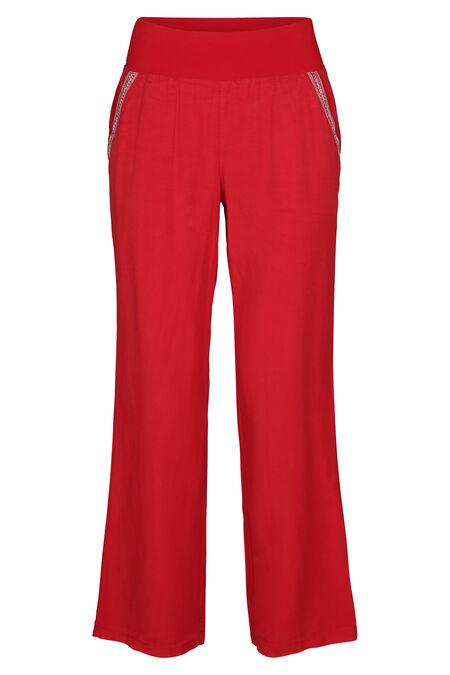 Soepele broek met jeanslook - Rood