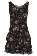 Gebloemde jurk met volants, Zwart