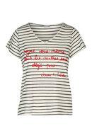 Gestreept T-shirt met tekst, Rood