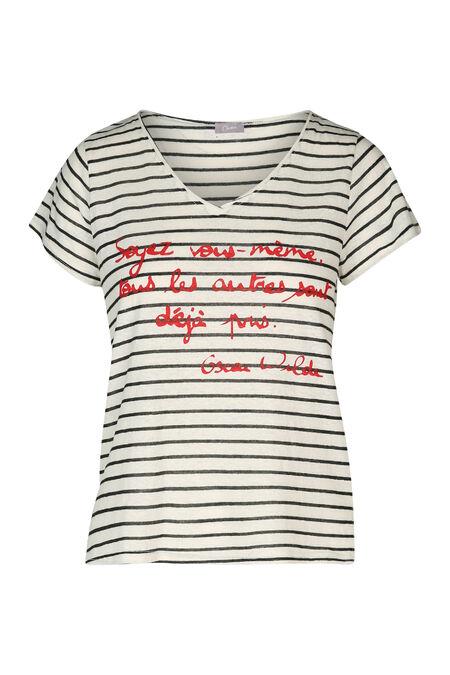 Gestreept T-shirt met tekst - Rood