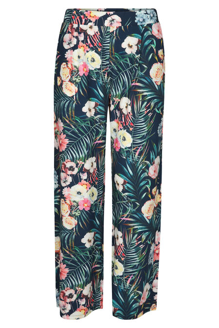 Pantalon fluide imprimé jungle - Marine