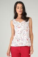 T-shirt maille froide imprimé fleuri, Rose fonce
