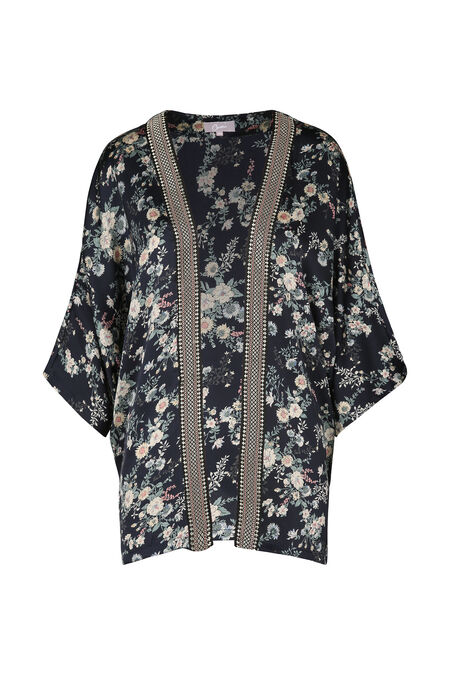 Gebloemde kimono met ribboord - Marineblauw