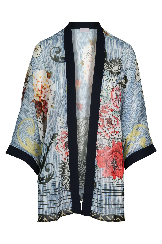 Veste Fleurs Kimono Marine Cassis Imprimé fwfxdTgqnr