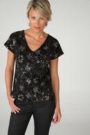 T-shirt in netstof met borduurwerk, Goud