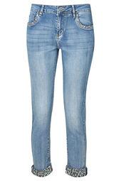 Jeans slim détails léopard