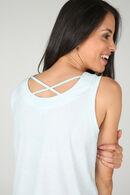 T-shirt gekruiste rug met vlinders, Appelblauwzeegroen