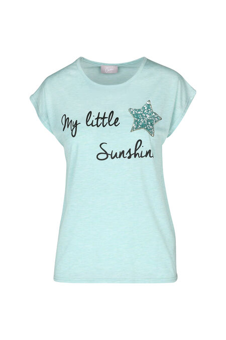 "T-shirt ""My little sunshine"" - aqua"