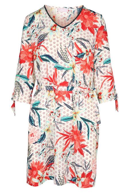 Bedrukte jurk - Abrikoos