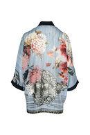 Veste kimono imprimé fleurs, Marine