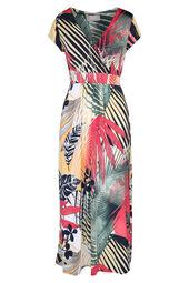 Lange jurk bedrukt met palmbladeren