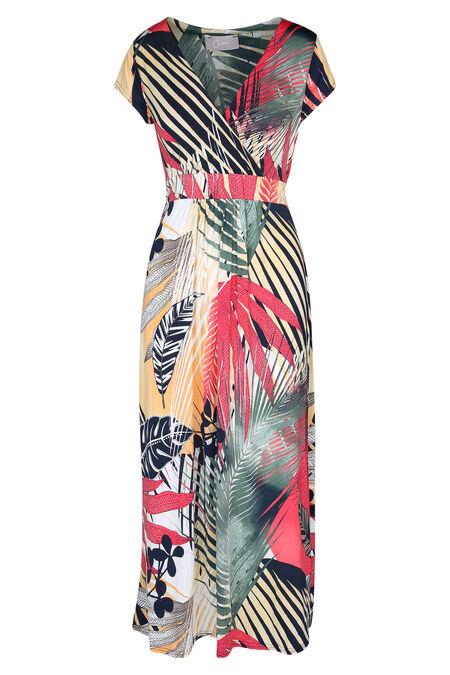 Lange jurk bedrukt met palmbladeren - Framboos