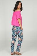 Soepel vallende broek met tropische print, Marineblauw
