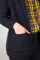 Losse cardigan in lurextricot, Marineblauw
