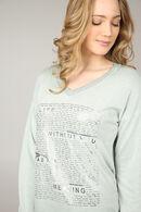 T-shirt imprimé écritures argentées, Kaki