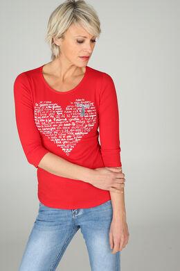 T-shirt met een hart op, Rood
