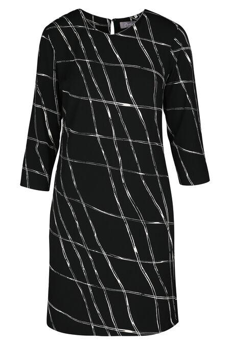 Jurk in bedrukt tricot - Zwart/Ecru